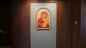 Frederic K. Miller Chapel Lobby features an art piece by Dorothy Thayne