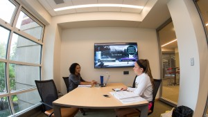 Students collaborate in one of the new study rooms in Bishop Library