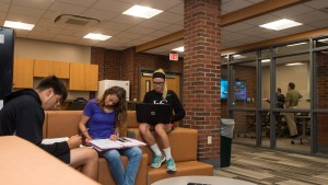 Students work in the lower level of the Mary Capp Green Residence Hall