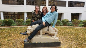 Alex Hong, Holly Mitman, and Corine Mendenhall take a photo with the Nittany Lion